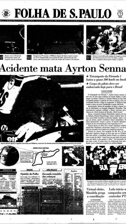Capa da Folha do dia 2 de maio de 1994, dia seguinte à morte de Ayrton Senna