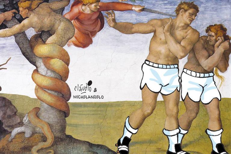 charge sobre o quadro Expulsão de Adão e Eva do Paraíso de Michelangelo com dois jogadores de futebol no lugar do casal