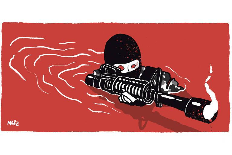 Charge Marília Marz publicada na Folha no dia 08 de maio de 2021. Nela um soldado dentro de um rio vermelho.