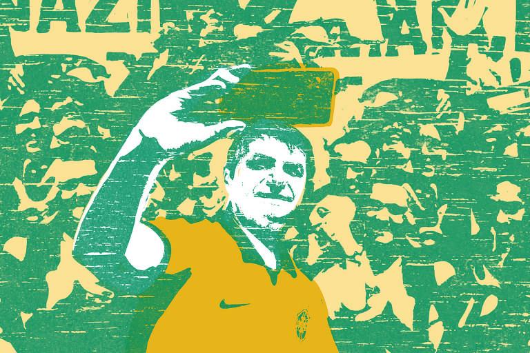 Ilustração em tons de azul e amarelo do presidente Jair Bolsonaro usando a camisa da seleção brasileira de futebol. Ele segura um celular para fazer uma selfie. Ao fundo, várias pessoas aglomeradas