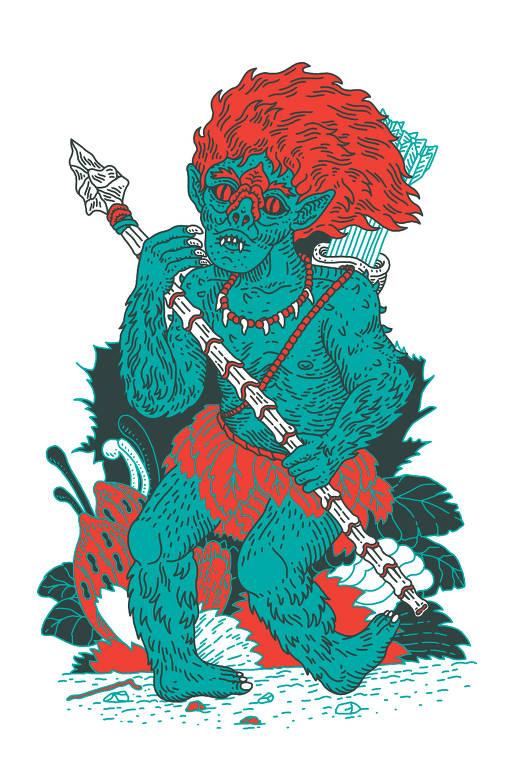 menino de cabelos vermelhos e pés virados para trás que protege as matas e os animais