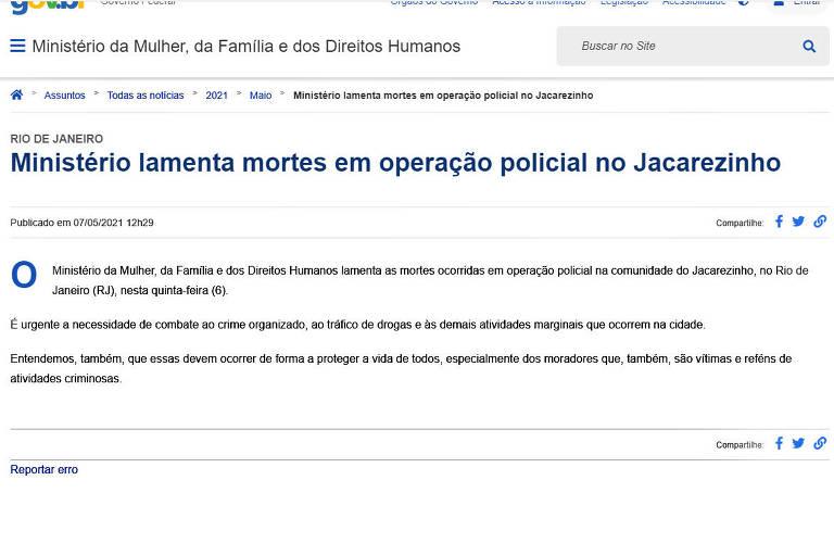 Nota que foi tirada do ar pela pasta de Damares Alves, o Ministério da Mulher, Família e Direitos Humanos