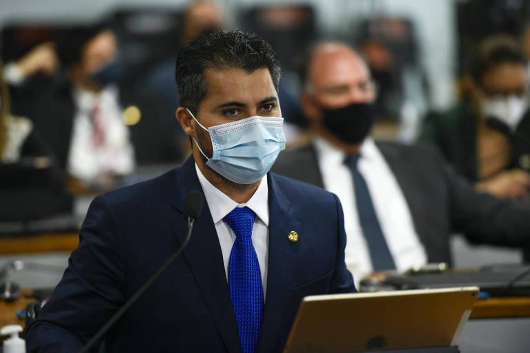 O senador Marcos Rogério (DEM-RO) durante sessão da CPI da Covid no Senado