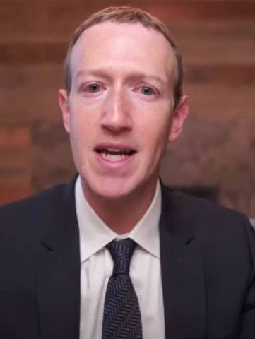 Facebook CEO Mark Zuckerberg testifies during a remote video hearing held by subcommittees of the U.S. House of Representatives Energy and Commerce Committee on