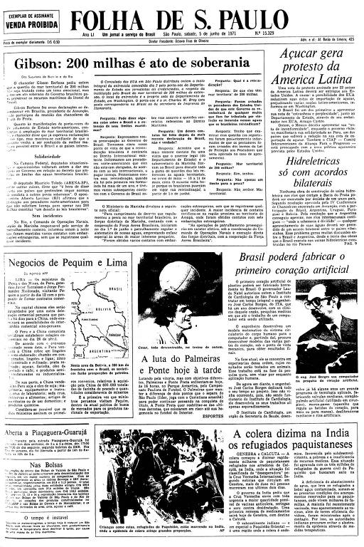 Primeira Página da Folha de 5 de junho de 1971