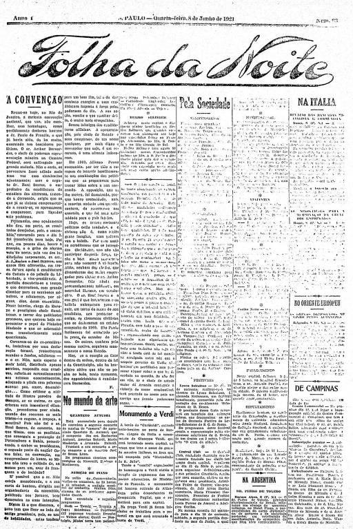 Primeira Página da Folha da Noite de 8 de junho de 1921