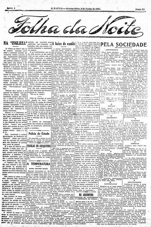 Primeira Página da Folha da Noite de 9 de junho de 1921