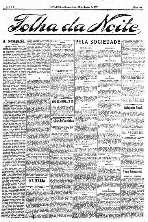 Primeira Página da Folha da Noite de 10 de junho de 1921