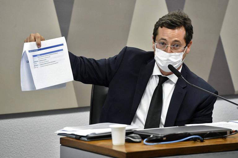 O ex-secretário Fábio Wajngarten em depoimento à CPI da Covid