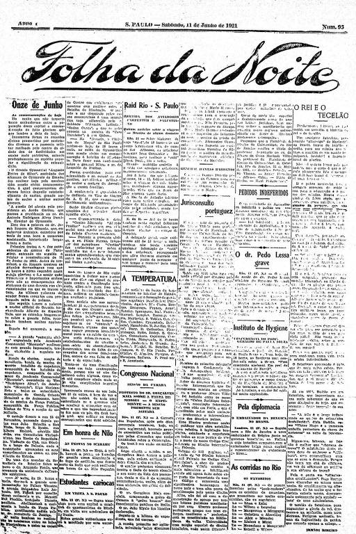 Primeira Página da Folha da Noite de 11 de junho de 1921