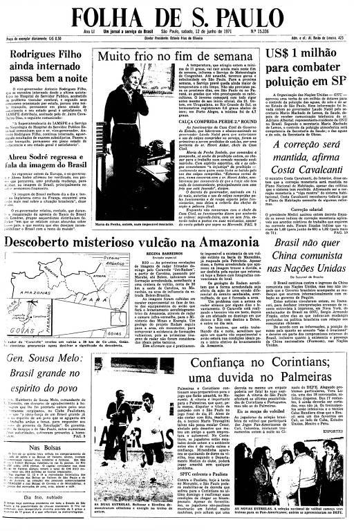 Primeira Página da Folha de 12 de junho de 1971