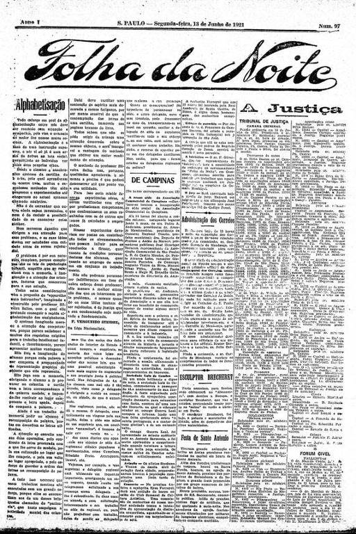 Primeira Página da Folha da Noite de 13 de junho de 1921