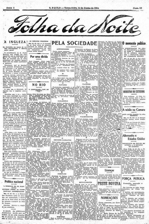 Primeira Página da Folha da Noite de 14 de junho de 1921