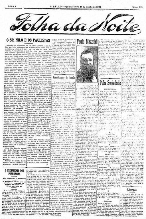 Primeira Página da Folha da Noite de 16 de junho de 1921