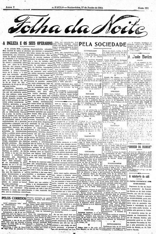 Primeira Página da Folha da Noite de 17 de junho de 1921