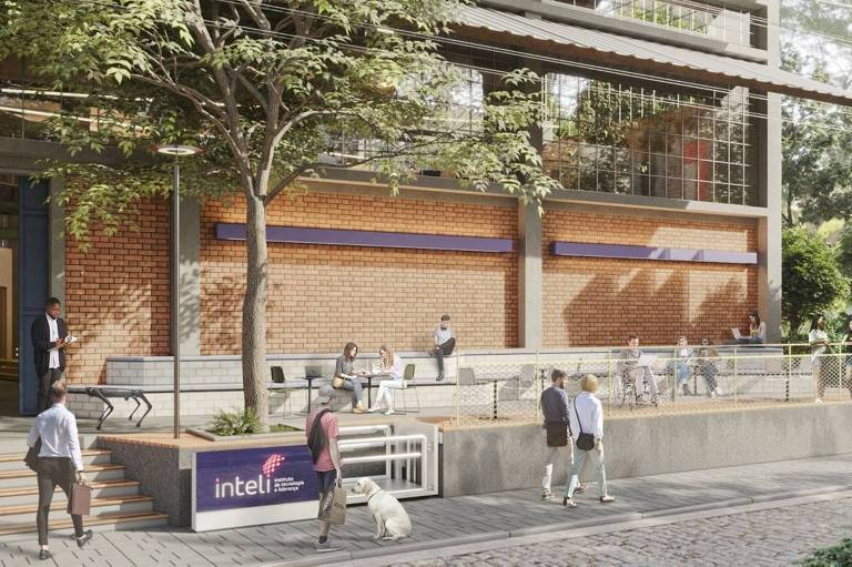 Prédio de tijolo com arquibancada de concreto, no projeto do campus do Inteli