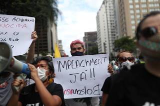 Protest against Brazil's President Jair Bolsonaro in Sao Paulo
