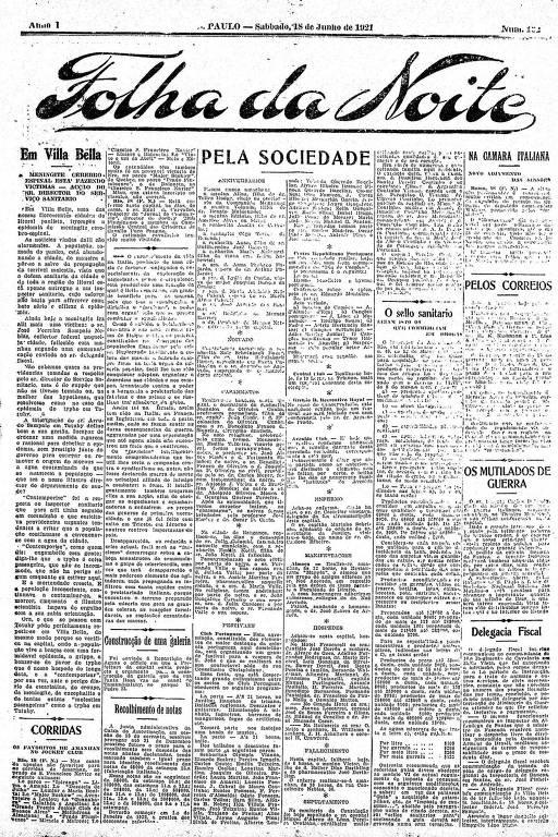 Primeira Página da Folha da Noite de 18 de junho de 1921