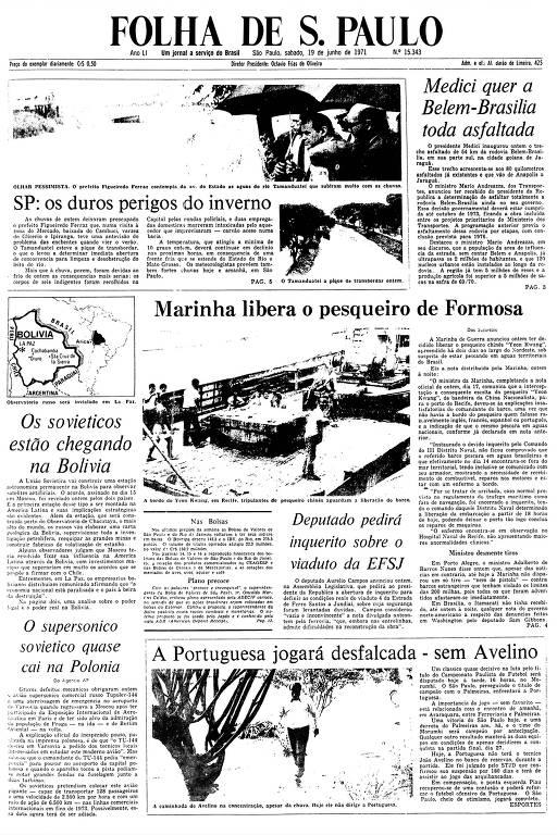 Primeira Página da Folha de 19 de junho de 1971