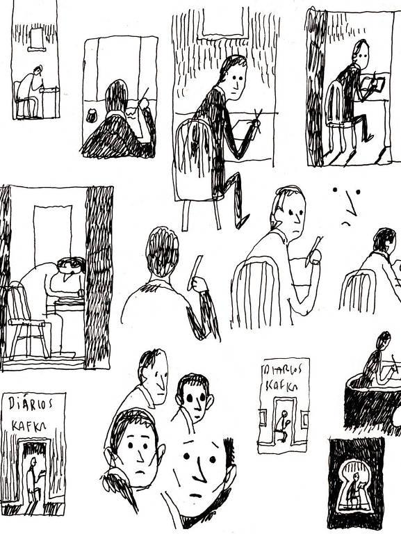 """Esboços do cartunista e ilustrador Tom Gauld para a edição dos """"Diários"""" de Franz Kafka publicada pela Todavia"""