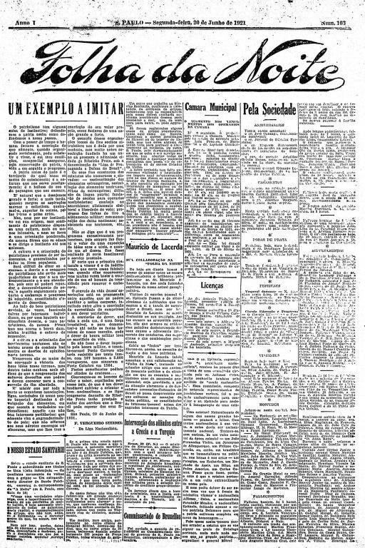 Primeira Página da Folha da Noite de 20 de junho de 1921