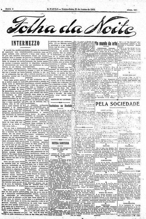 Primeira Página da Folha da Noite de 21 de junho de 1921