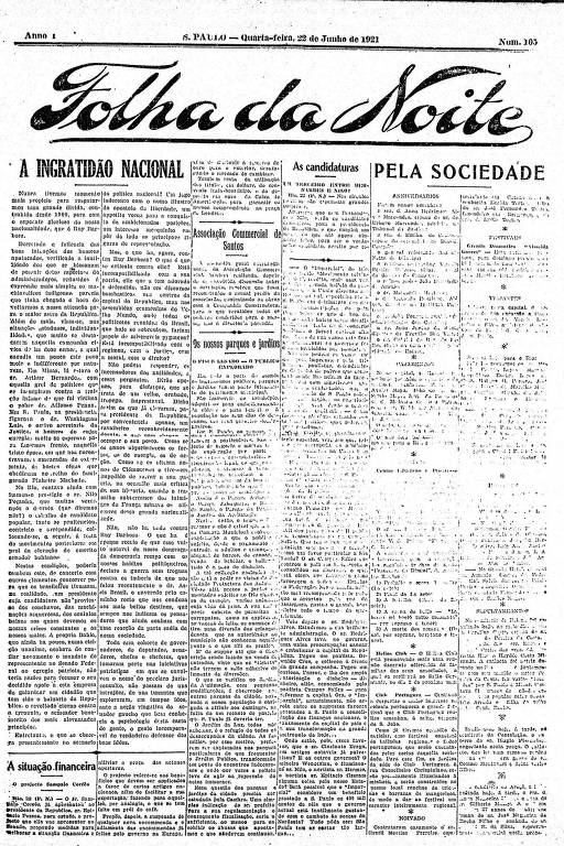 Primeira Página da Folha da Noite de 22 de junho de 1921