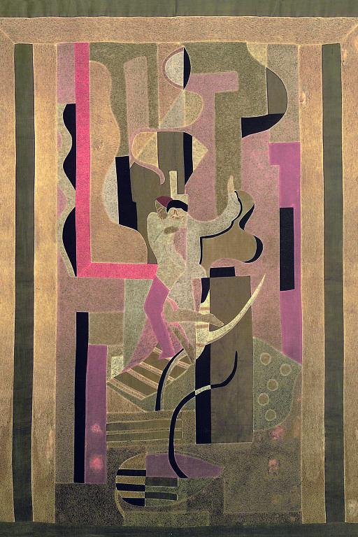 Pintura com padrões geométricos e com tons de rosa, roxo e dourado principalmente; ao centro, há duas figuras humanas