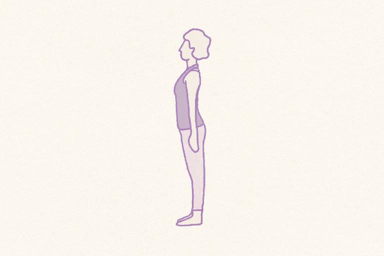 YOGA. Yoga é a integração do corpo, mente e alma. As posturas são feitas com respiração consciente, e por isso se diz que yoga é uma prática de meditação ativa. Escolha um tapetinho de exercícios ou uma toalha para experimentar esta série elaborada por Puja Camila.  Postura da montanha (Tadasana). Imagine raízes brotando dos seus pés. Elas mantêm você firme como uma montanha. Seus braços ficam soltos ao longo do corpo, e o queixo está paralelo ao chão. A ideia é ficar firme e com conforto, sentindo os pés aterrados. Assim, você melhora sua postura, e alivia dores nas costas.