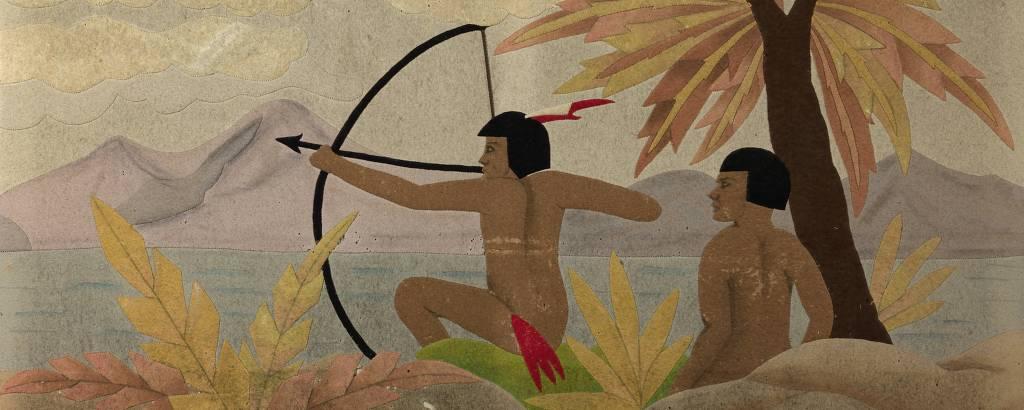 Pintura retrata dois indígenas de cabelos curtos, nus, em mata. Um deles aponta o seu arco e flecha para o lado esquerdo da tela, e o outro está sentado, posicionado logo atrás do primeiro
