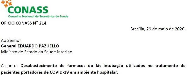 Um dos ofícios recebidos pelo então ministro da Saúde, o general da ativa Eduardo Pazuello, com alerta sobre estoques de sedativos