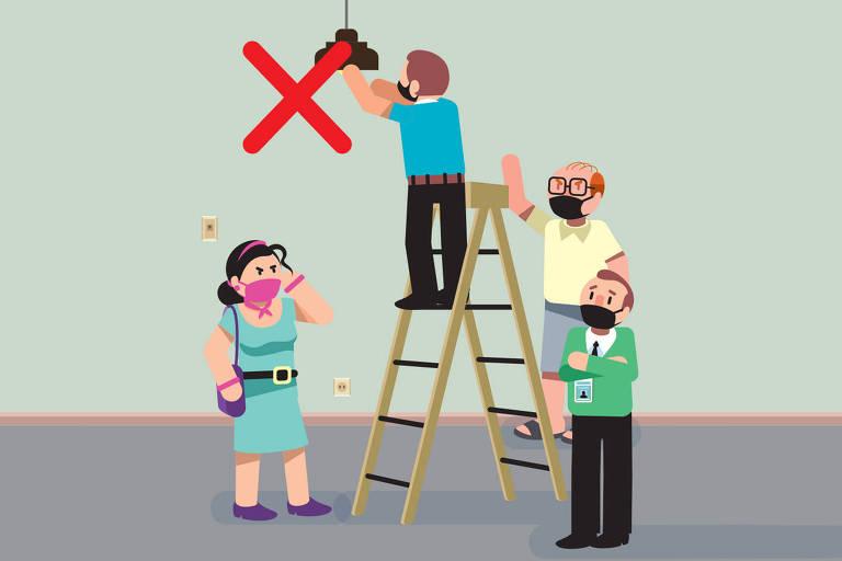 Ilustração para a coluna nos prédios sobre o trabalho do zelador