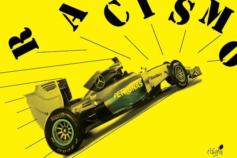 charge com um carro de f1 do lewis hamilton, em um fundo amarelo, atropelando a palavra racismo