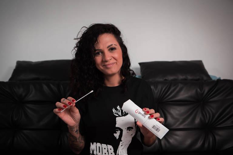 A cantora Nathalia Valentini Lissa, a Nathy MC, faz um teste de DNA para saber sobre seus antepassados