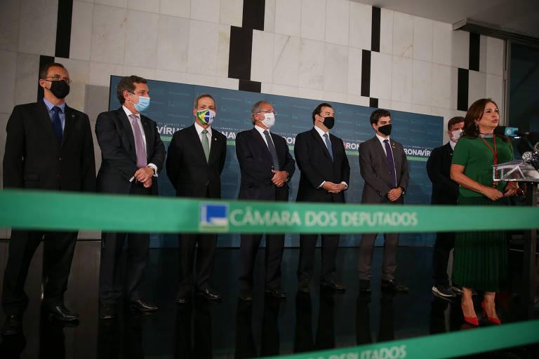 Ministro Paulo Guedes (Economia) participou do lançamento da agenda da Frente Parlamentar da Reforma Administrativa, no Congresso Nacional
