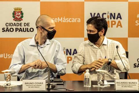 SAO PAULO , SP , 25.02.2021 , BRASIL , O prefeito Bruno Covas participou, de coletiva de imprensa para anunciar novas medidas de combate ao coronavírus.Crédito Marcelo Pereira / Secom