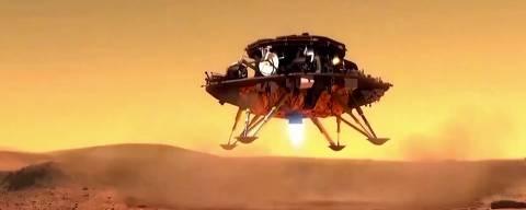 Concepção artística do módulo com o jipe Zhurong descendo na superfície de Marte. (Crédito: CNSA)