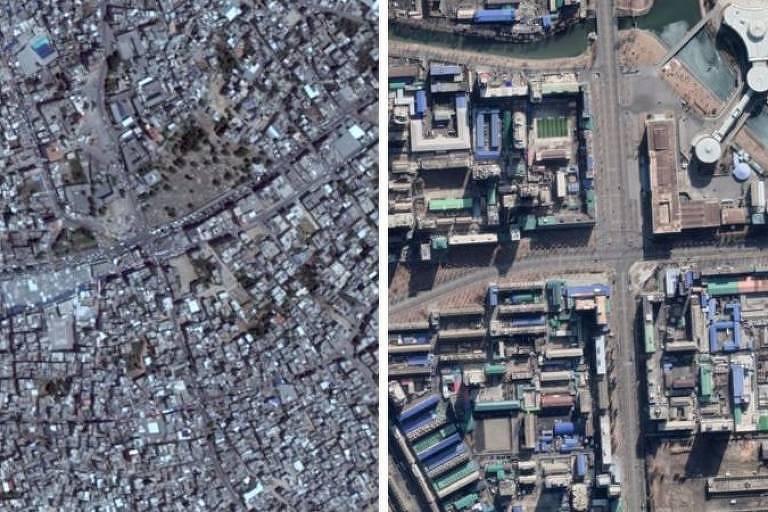 À esquerda, imagem de Gaza no Google Earth (data de 2016); à direita, imagem da Maxar mostra torre destruída (data de 12 de maio de 2021)