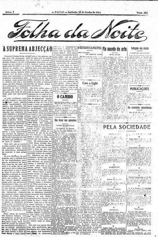 Primeira Página da Folha da Noite de 25 de junho de 1921