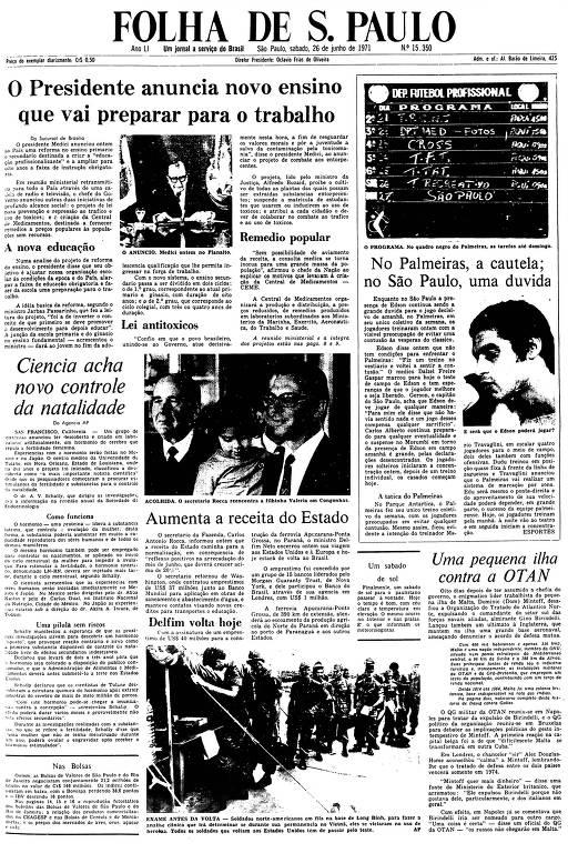 Primeira Página da Folha de 26 de junho de 1971