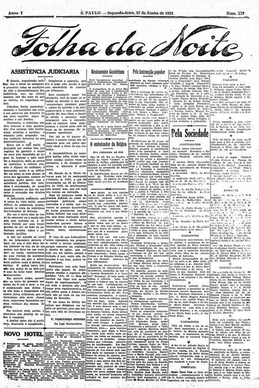 Primeira Página da Folha da Noite de 27 de junho de 1921