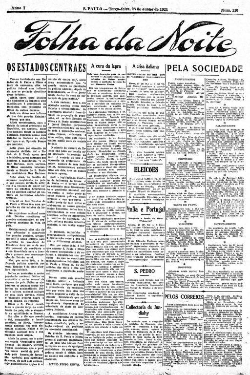 Primeira Página da Folha da Noite de 28 de junho de 1921