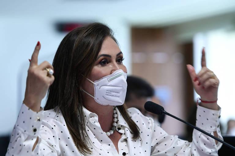 A senadora Kátia Abreu (PP-TO), ao falar na CPI da Covid