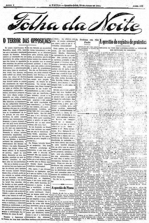 Primeira Página da Folha da Noite de 29 de junho de 1921