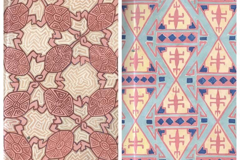 Dois estudos de padronagens indígenas, com repetição de motivos triangulares e das cores azul e rosa