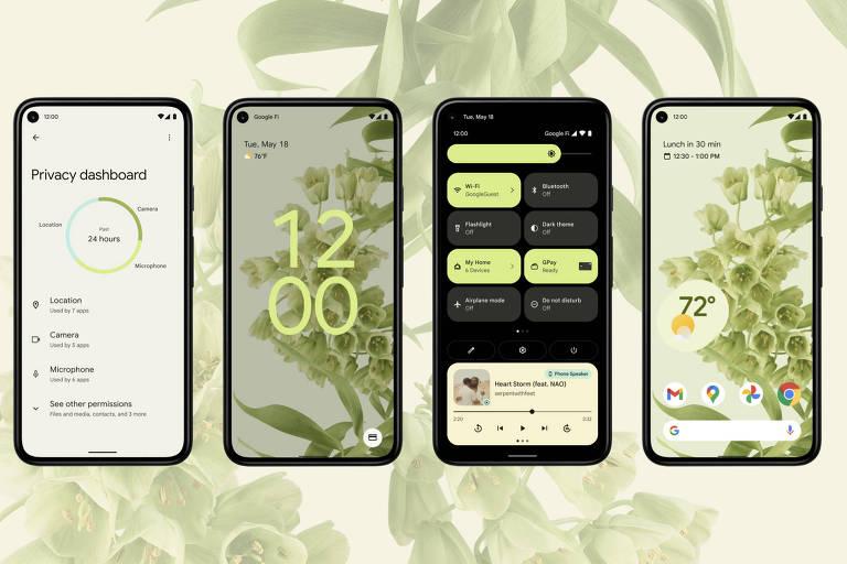 Imagem do Android 12, que será lançado em breve
