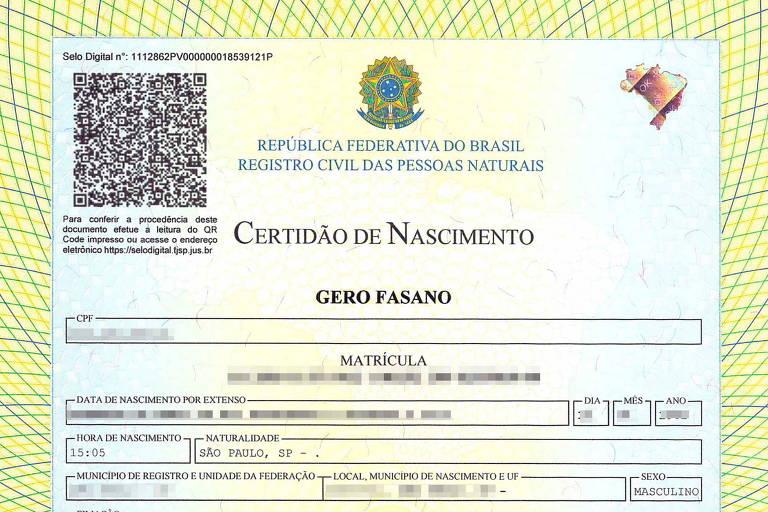 Certidão de nascimento com o novo nome de Gero Fasano