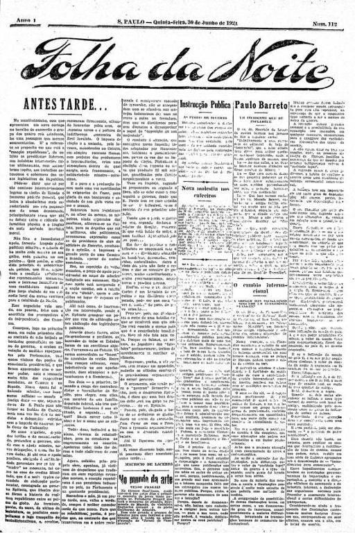 Primeira Página da Folha da Noite de 30 de junho de 1921