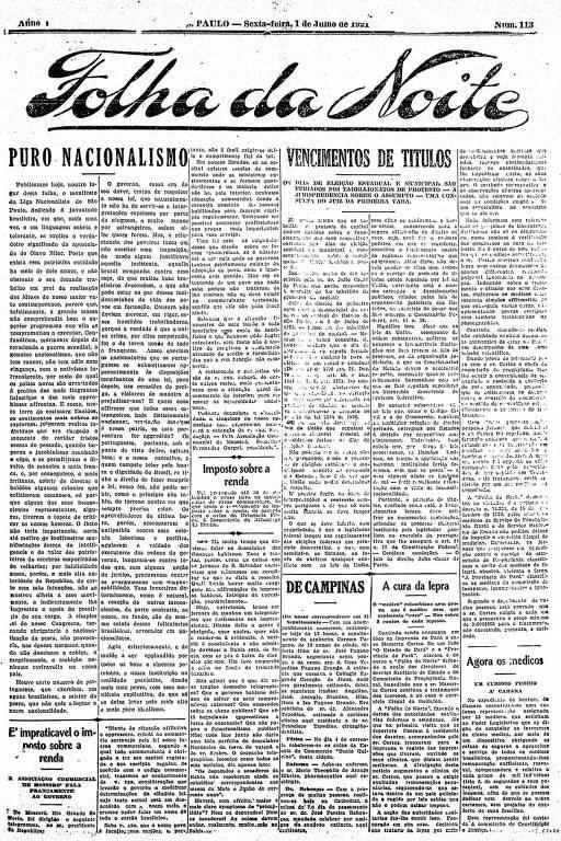 Primeira Página da Folha da Noite de 1º de julho de 1921