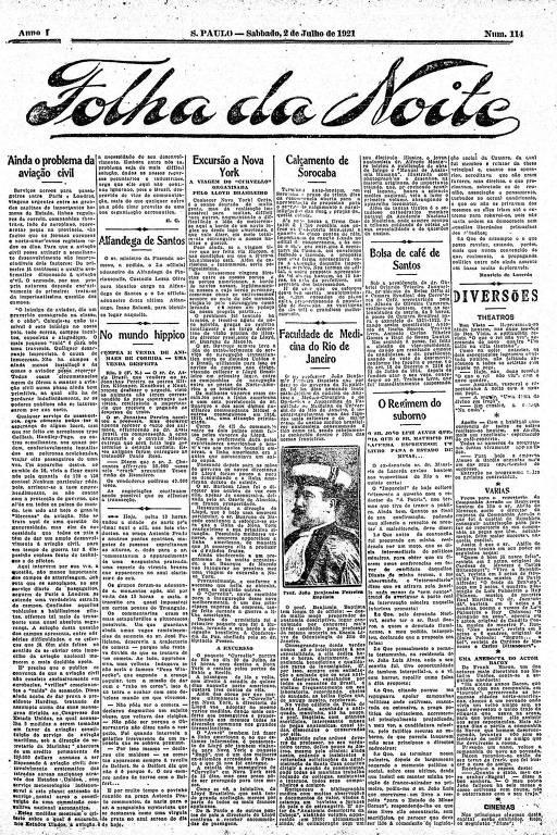 Primeira Página da Folha da Noite de 2 de julho de 1921